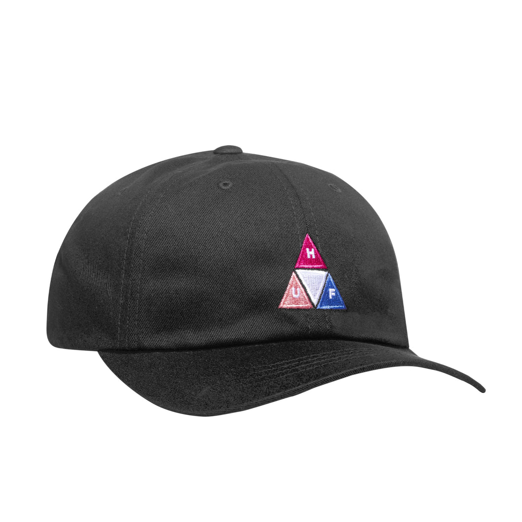HUF Peak Logo Cv 6 Panel Hat Mens Cap Black
