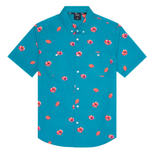 HUF Poppy Short Sleeve Woven Shirt Biscay Bay