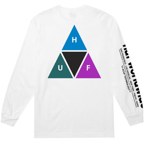 HUF Prism Triple Triangle Long Sleeve T Shirt Mens Ls Tee White