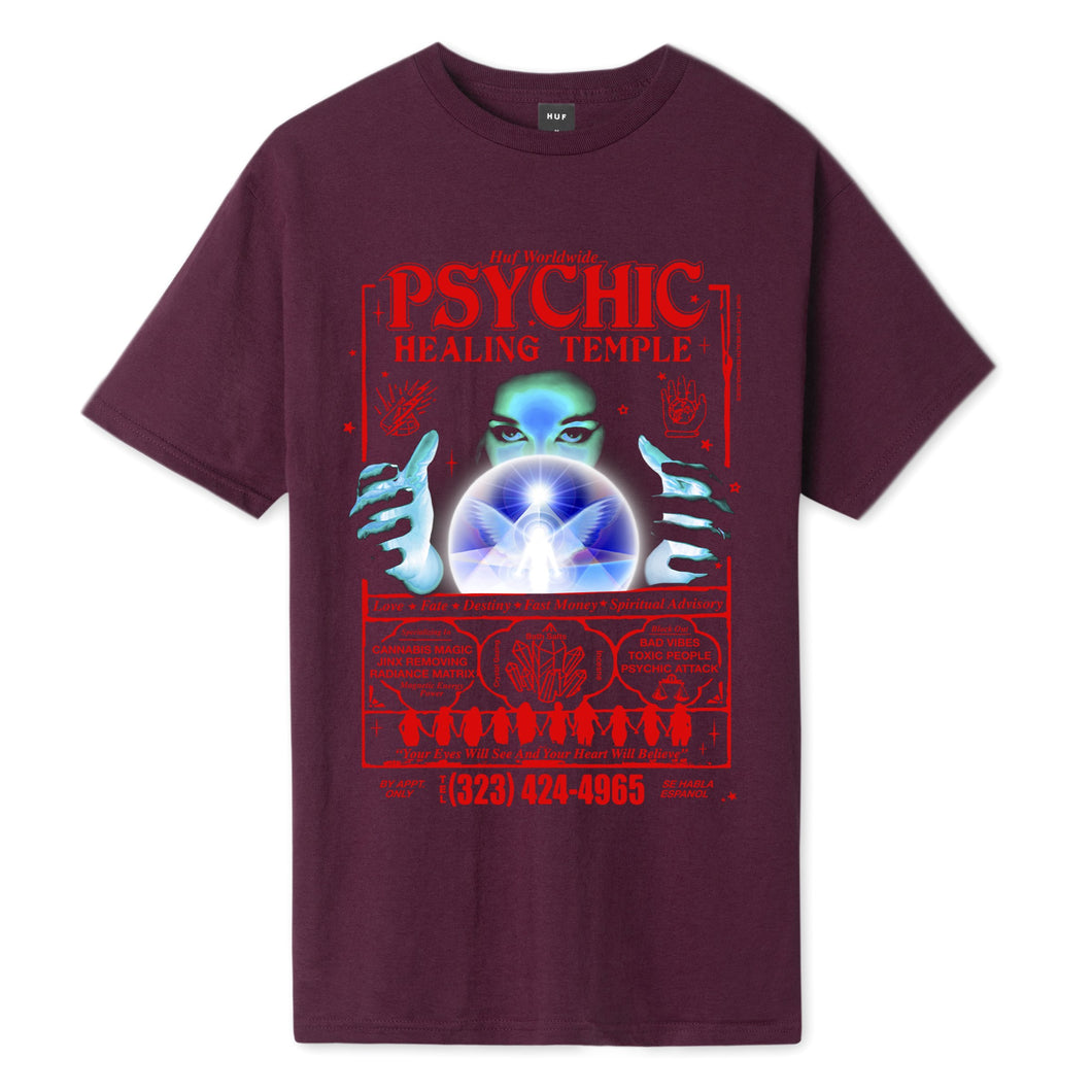 HUF Psychic Temple T-Shirt Burgundy