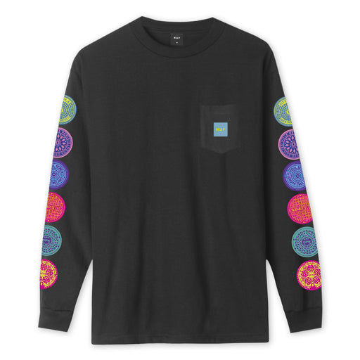 HUF Sewer Long Sleeve Pocket T-Shirt Mens LS Tee Black