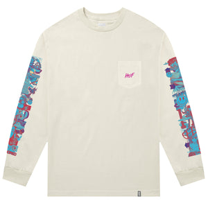 HUF Short Term Long Sleeve Pocket T Shirt Mens Ls Tee Oyster White