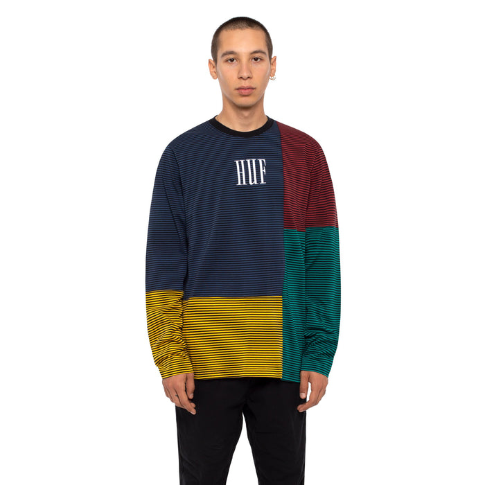 HUF Vilmos Stripe Long Sleeve Knit Top Mens Ls Knitwear Insignia Blue