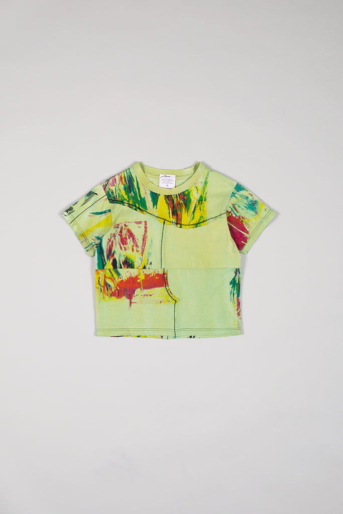DIY Patchwork T-Shirt Washed Green