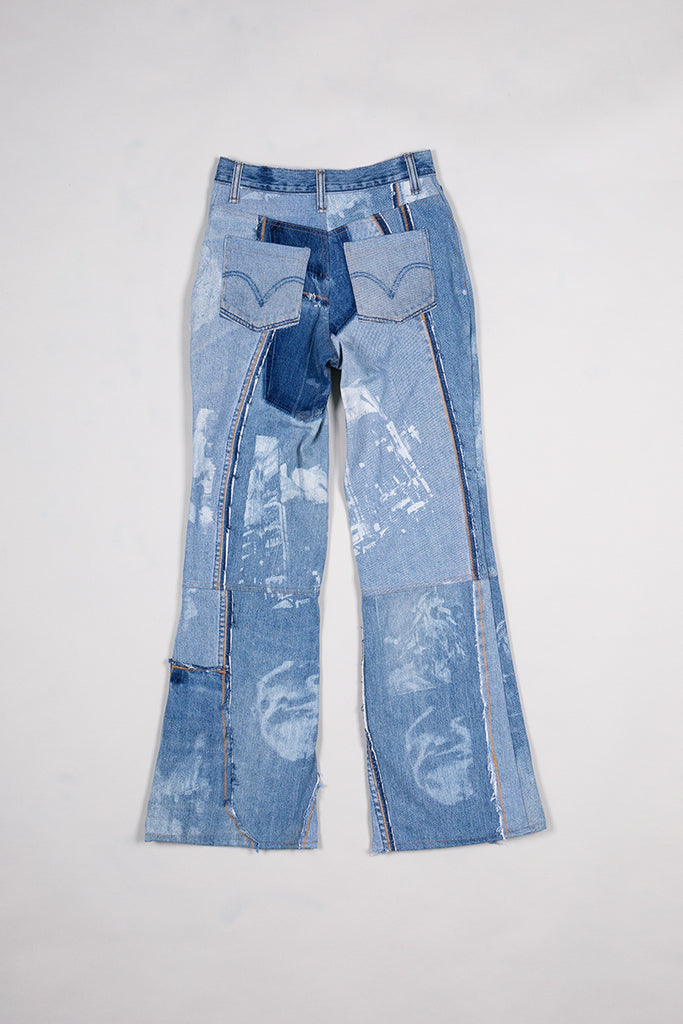 DIY Patchwork Denim Pants Washed Blue
