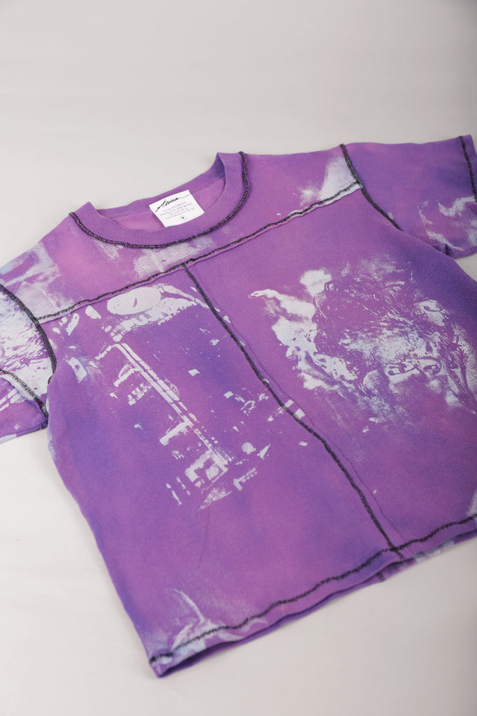 DIY Patchwork T-Shirt Bleached Purple