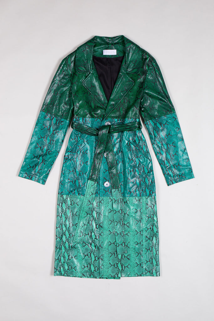 Tri-color Snake Leather Coat