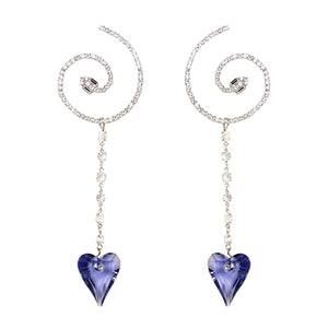 Snake Spiral Heart Earrings