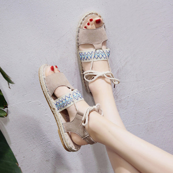 Ethnic Wind Bohemian Lace-up Flat-σόλα Γυναικεία παπούτσια