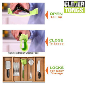 Non-stick Clever Tongs 2-in-1 Kitchen Tool