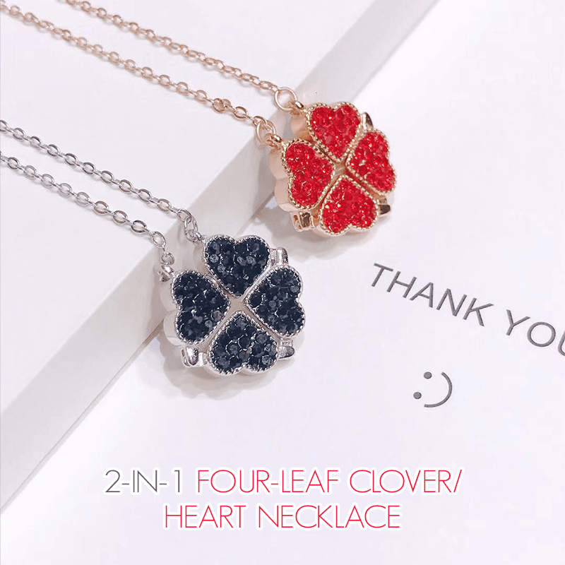 2-in-1 Four-Leaf Clover/Heart Necklace