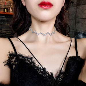 Simple Wavy Full Diamond Necklace Short Necklace Women Neck Temperament Clavicle Chain
