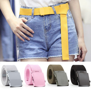 Smooth Buckle Canvas Woven Belt
