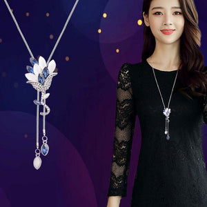Flower Tassel Long  Pendant Sweater Necklace