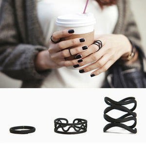 Women Punk Black Matte Ring Set 3 PCS