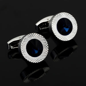 Blue and White Crystal Round Cufflinks