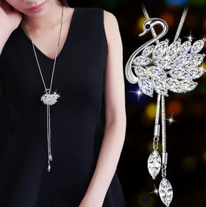 Long Necklace with Crystal Adorned Swan Pendant