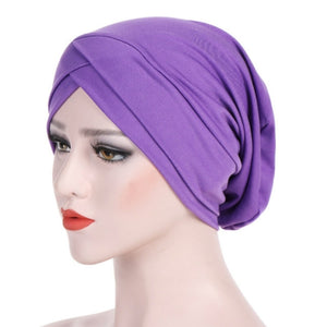 Modal Stretch Cloth Forehead Cross Headscarf Cap