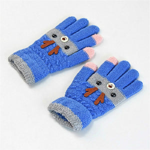 Antlers Autum Knitted Finger Gloves