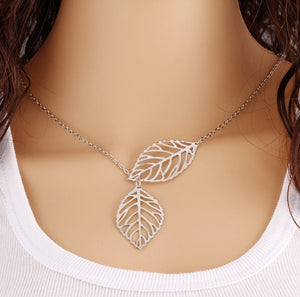 Fashion Jewelry Simple Personality Wild Temperament 2 Leaf Necklace Female Jewelry Necklace