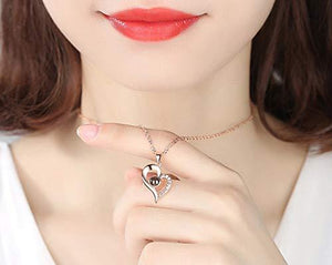Projective Girl Heart Pendant Necklace Jewelry