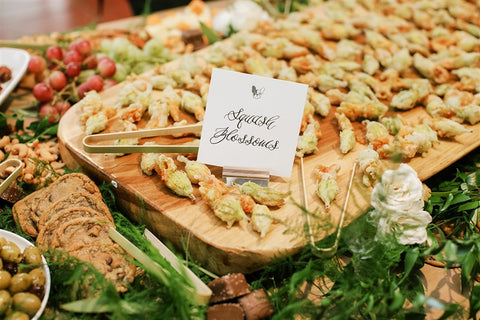 Table and Thyme wedding squash blossom grazing table