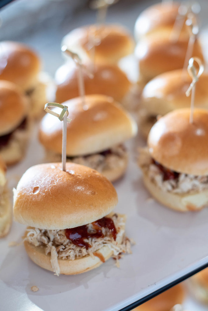 Chicken Slider with BBQ Sauce and Pickle