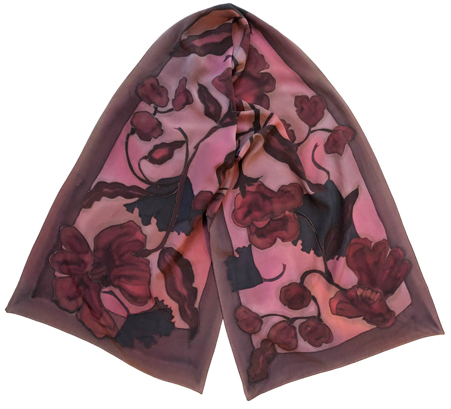 Blush Crepe / Charmeuse Hand Painted Scarf
