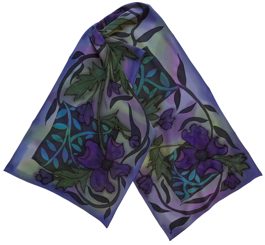 Violet Crepe / Charmeuse Hand Painted Scarf