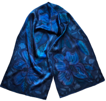 Blue Crepe / Charmeuse Hand Painted Scarf