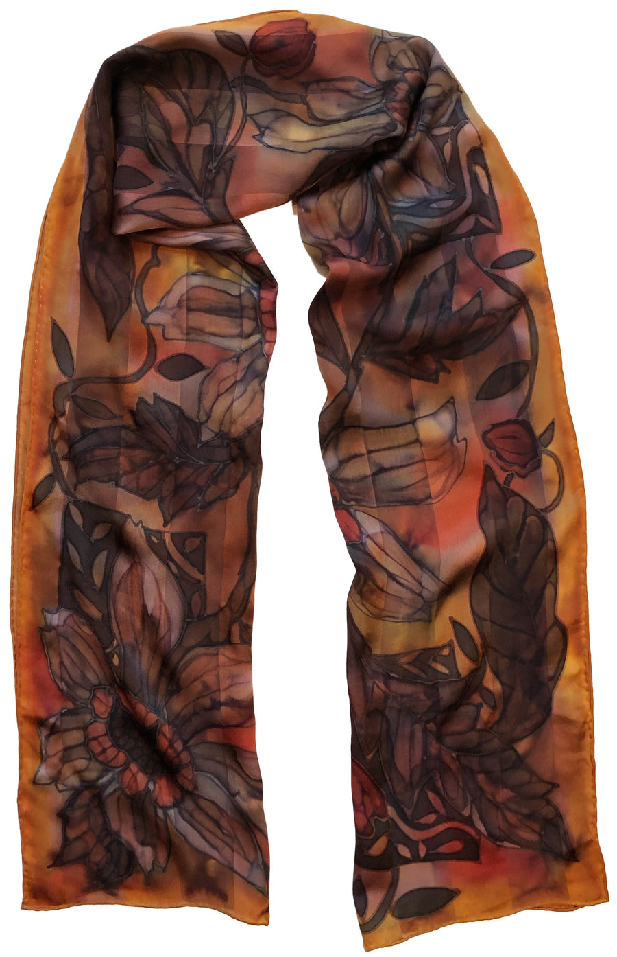 Amber Satin Stripe Hand Painted Scarf