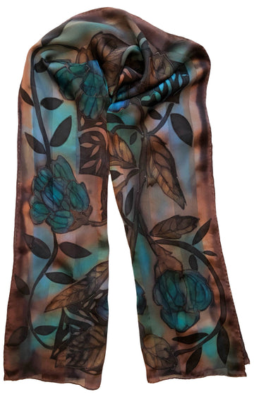 Teal Satin Stripe Hand Painted Scarf