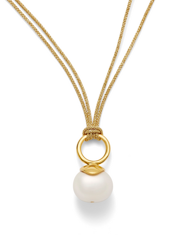Gold Cord with White Pebble Pearl