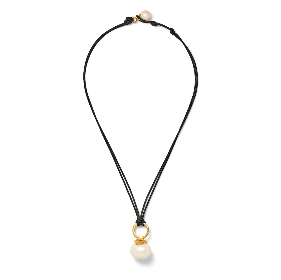 Black Cord with White Pebble Pearl