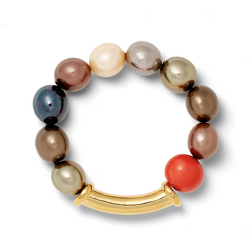 Multi Hued Pebble Pearl Bracelet