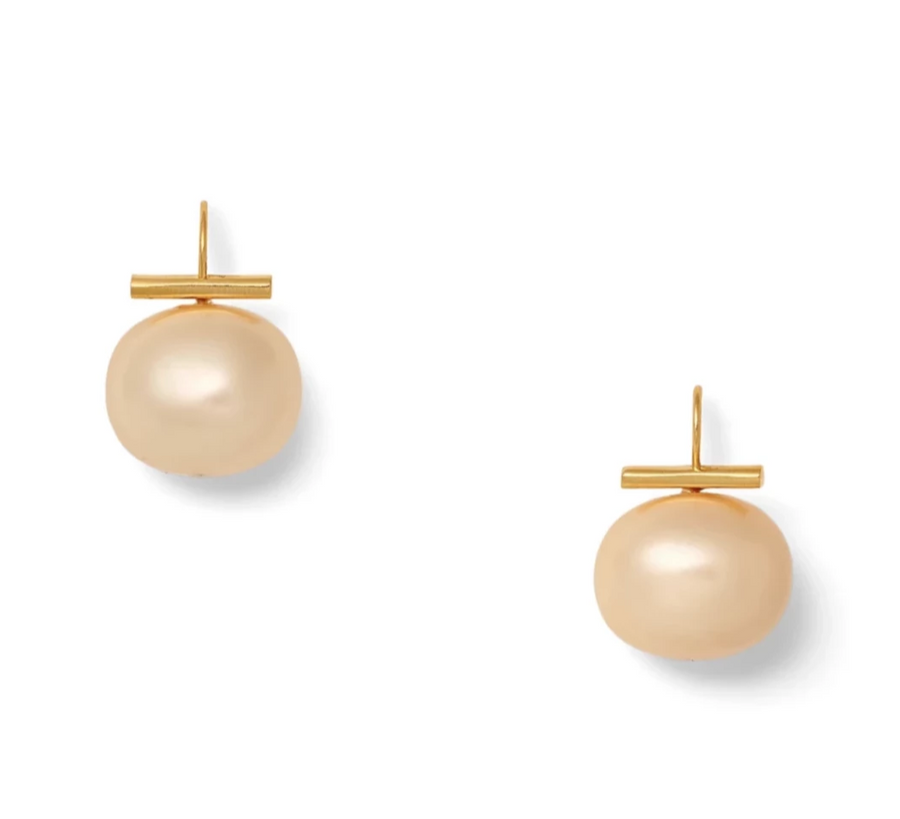 Champagne Large Pebble Pearl Earrings