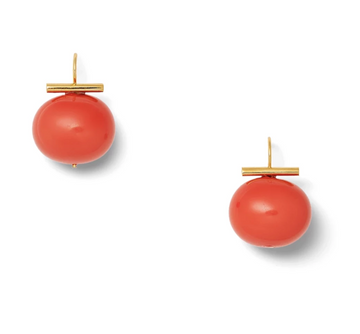 Coral Large Pebble Pearl Earrings