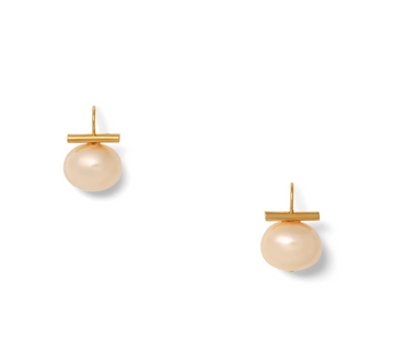 Medium Champagne Pebble Pearl Earrings