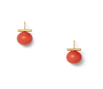 Medium Coral Pebble Pearl Earrings