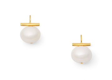 Medium White Pebble Pearl Earrings