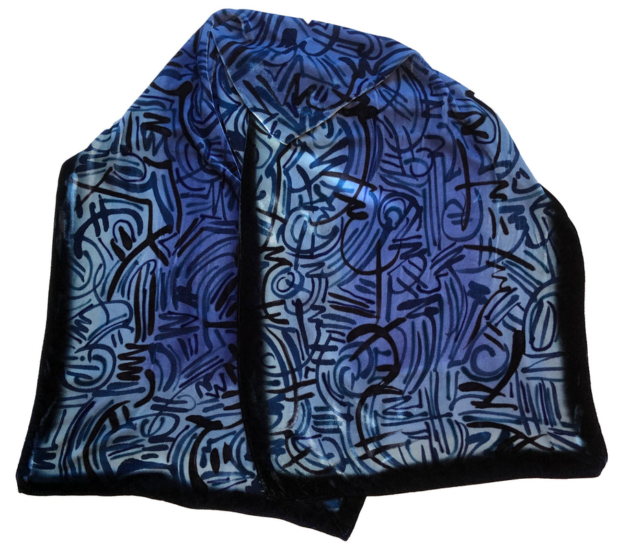 Blue Velvet Hand Painted Scarf
