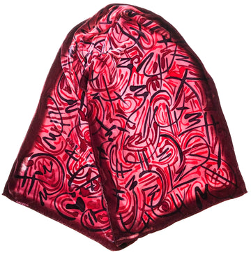 Red Velvet Hand Painted Scarf