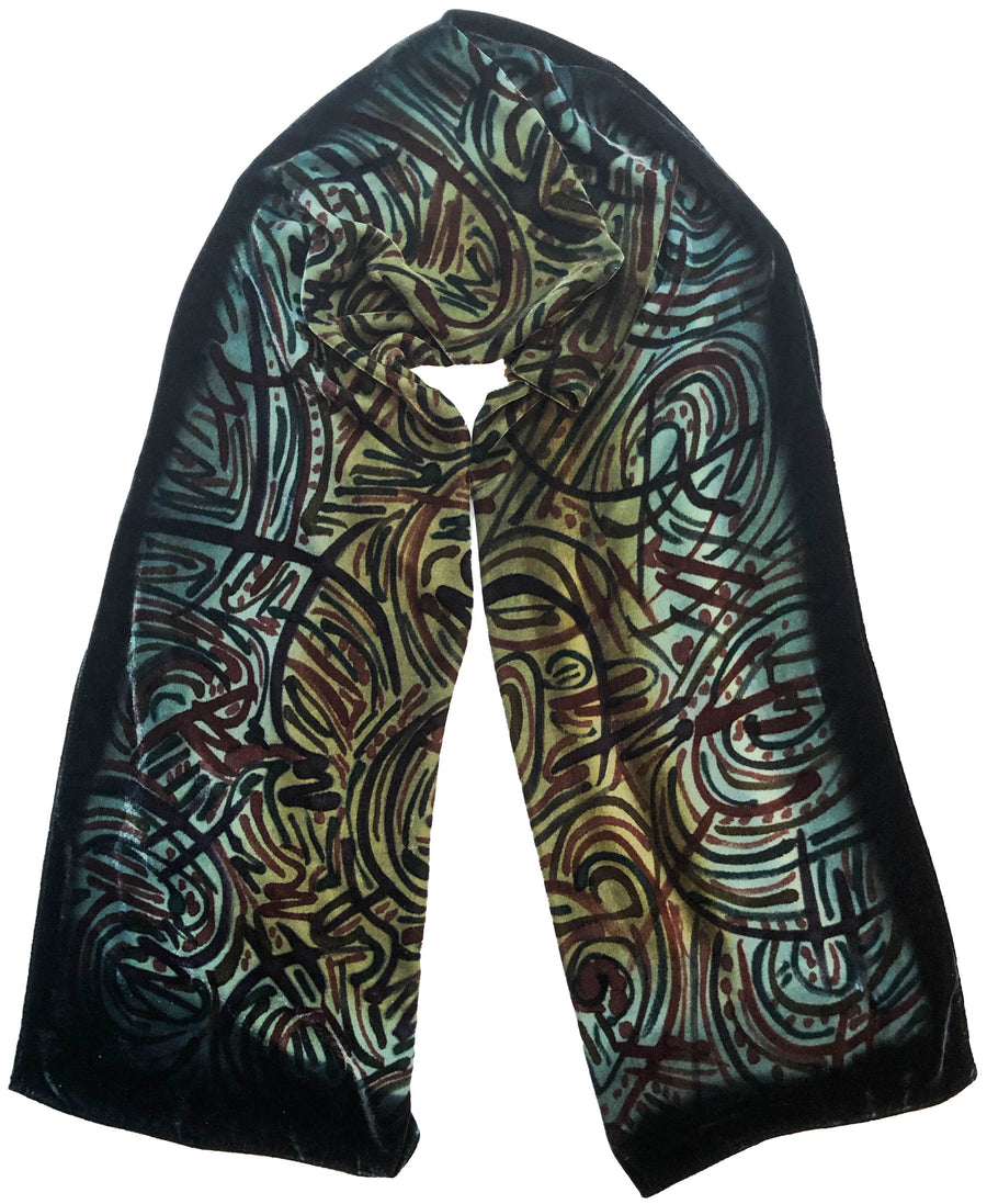 Green Velvet Hand Painted Scarf