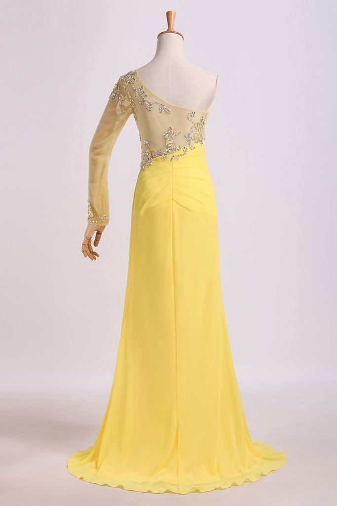 One Sleeve Column Floor Length Prom Dress With Beading