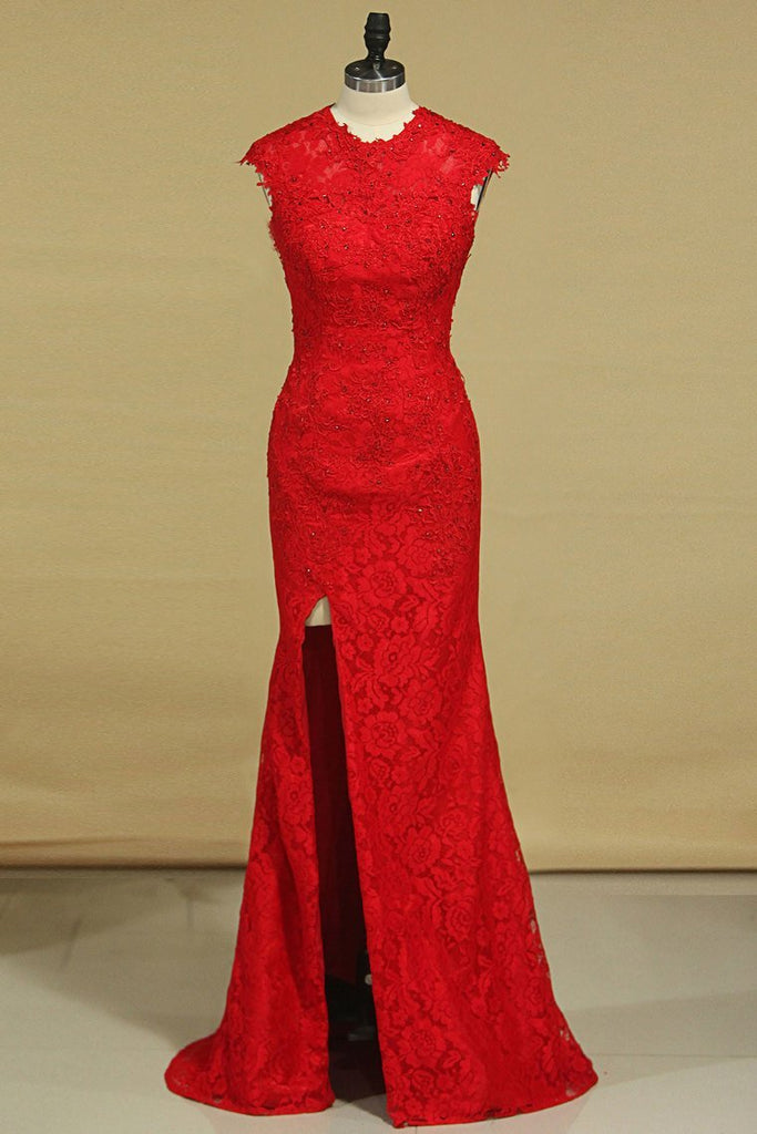 Prom Dresses Sheath Scoop Lace With Applique And Beads Sweep