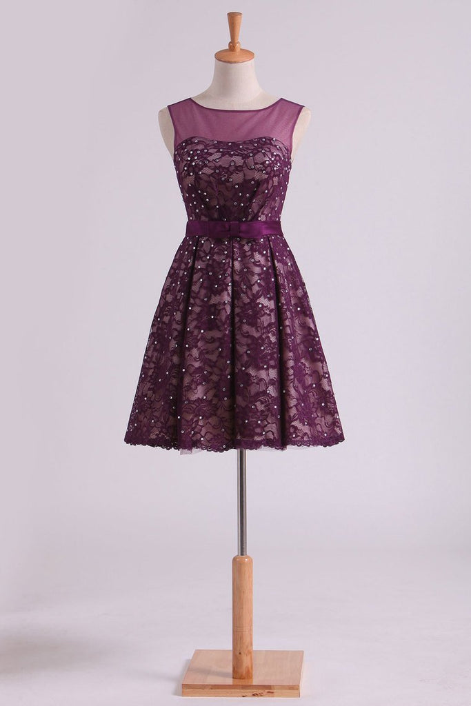Grape Homecoming Dresses Scoop A Line With Sash And Beads Short/Mini