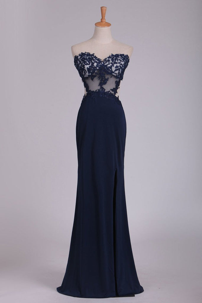 Prom Dresses Sweetheart Sheath With Applique And Slit Floor
