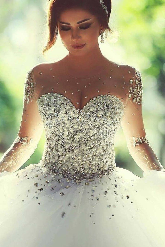 Scoop Wedding Dresses A Line With Beading Floor-Length