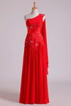 Red One Shoulder A Line Prom Dresses With Applique & Ruffles Floor