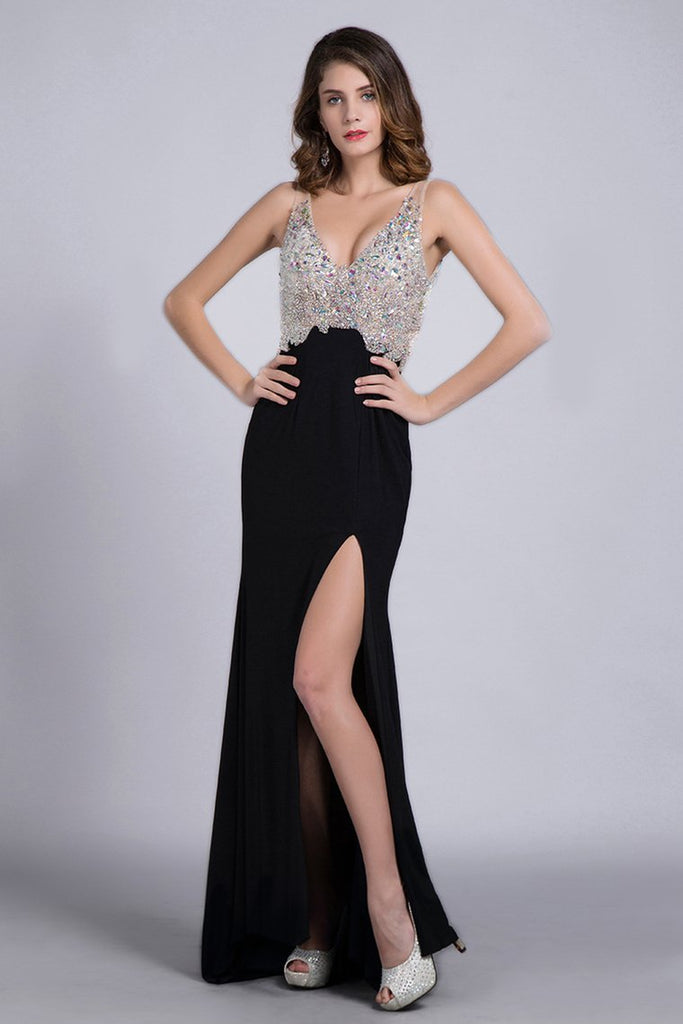 Prom Dresses Full Beaded Spandex Bodice Backless Sexy Court Train Black